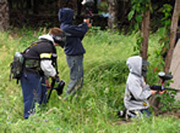 Kids playing paintball at chemawa paintball field