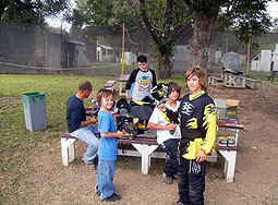 Group at Paintball Paradise hanging in the picknic tables 