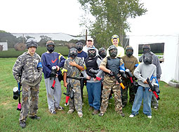 Here's a group gettin ready to play at Splatterhouse Paintball Field.