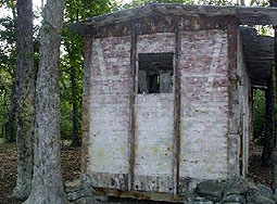 Hut at survival paintball field